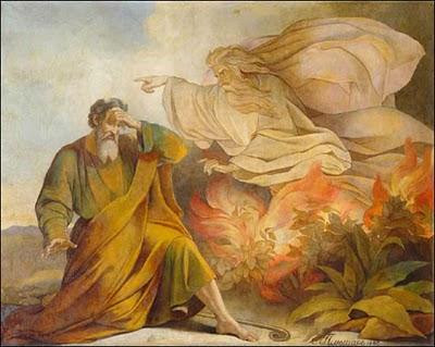 Dios aparece a Moisés en la Zarza Ardiendo.