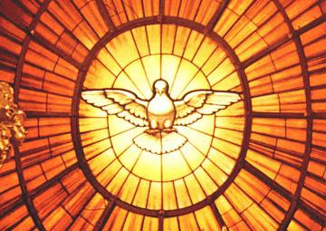 Vitral de Paloma representando al Espíritu Santo